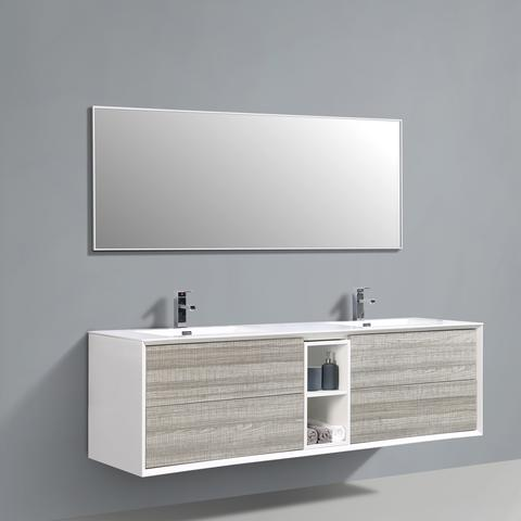 Image of Eviva Vienna 75″ Ash w/ White Frame Wall Mount Double Sink Bathroom Vanity w/ White Integrated Top EVVN777-75ASH-WH
