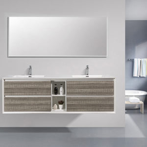 Eviva Vienna 75″ Ash w/ White Frame Wall Mount Double Sink Bathroom Vanity w/ White Integrated Top EVVN777-75ASH-WH