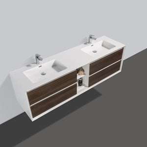 Eviva Vienna 75″ Gray Oak w/ White Frame Wall Mount Double Sink Bathroom Vanity w/ White Integrated Top EVVN777-75GOK-WH