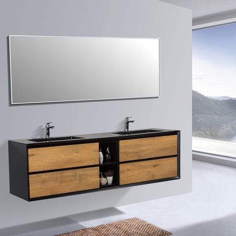 Image of Eviva Vienna 75″  Oak w/ Black Frame Wall Mount Double Sink Bathroom Vanity w/ Black Integrated Top EVVN777-75OAK-BL