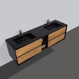 Eviva Vienna 75″  Oak w/ Black Frame Wall Mount Double Sink Bathroom Vanity w/ Black Integrated Top EVVN777-75OAK-BL