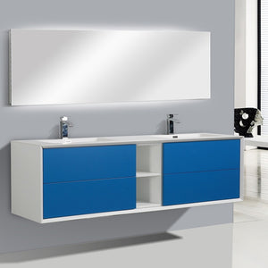 Eviva Vienna 75″ Blue w/ White Frame Wall Mount Double Sink Bathroom Vanity w/ White Integrated Top EVVN777-75BLU-WH