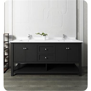 "Fresca Manchester 72"" Black Traditional Double Sink Bathroom Cabinet w/ Top & Sinks FCB2372BL-D-CWH-U"