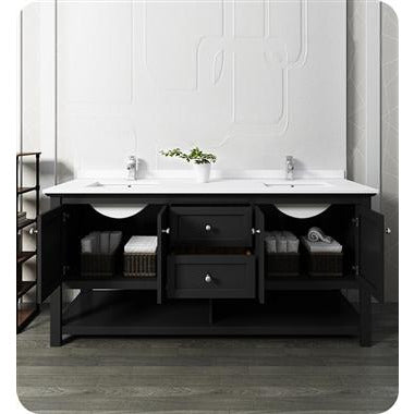 "Image of Fresca Manchester 72"" Black Traditional Double Sink Bathroom Cabinet w/ Top & Sinks FCB2372BL-D-CWH-U"