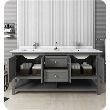 "Image of Fresca Manchester Regal 72"" Gray Wood Veneer Traditional Double Sink Bathroom Cabinet w/ Top & Sinks FCB2372VG-D-CWH-U"