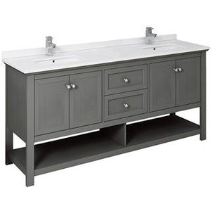 "Fresca Manchester Regal 72"" Gray Wood Veneer Traditional Double Sink Bathroom Cabinet w/ Top & Sinks FCB2372VG-D-CWH-U"