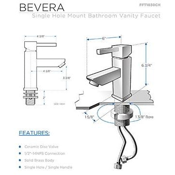 Image of Fresca Bevera Single Hole Mount Bathroom  Faucet - Chrome FFT1030CH
