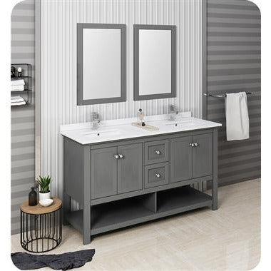 "Image of Fresca Manchester Regal 60"" Gray Wood Veneer Traditional Double Sink Bathroom Vanity w/ Mirrors FVN2360VG-D"