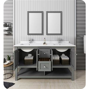 "Fresca Manchester Regal 60"" Gray Wood Veneer Traditional Double Sink Bathroom Vanity w/ Mirrors FVN2360VG-D"