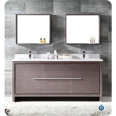 "Image of Fresca Allier 72"" Gray Oak Modern Double Sink Bathroom Vanity w/ Mirror FVN8172GO"