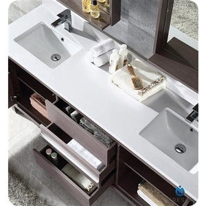 "Fresca Allier 72"" Gray Oak Modern Double Sink Bathroom Vanity w/ Mirror FVN8172GO"