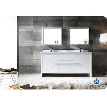 "Image of Fresca Allier 72"" White Modern Double Sink Bathroom Vanity w/ Mirror FVN8172WH"