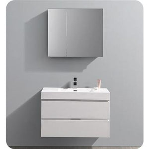 "Fresca Valencia 36"" Glossy White Wall Hung Modern Bathroom Vanity w/ Medicine Cabinet FVN8336WH"