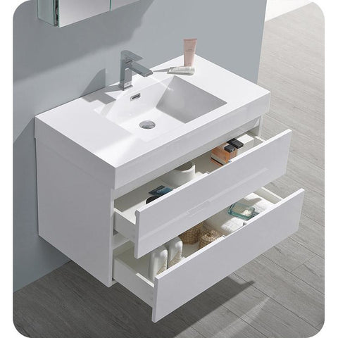 "Image of Fresca Valencia 36"" Glossy White Wall Hung Modern Bathroom Vanity w/ Medicine Cabinet FVN8336WH"