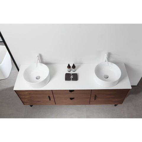 "Karton Republic Portree 72"" Walnut Mid-Century Freestanding Bathroom Vanity VAPORWA72FD"