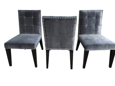 Image of Greg Sheres Florence Kitchen & Dining Chairs, Gray Velvet Set of 2 AD20-V