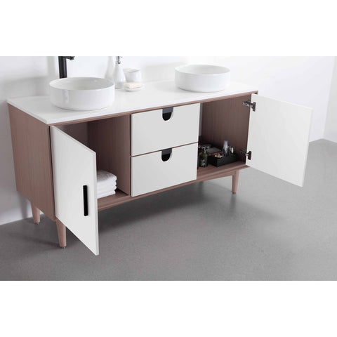 "Image of Karton Republic Portree 60"" Walnut Mid-Century Freestanding Bathroom Vanity w/Sink VAPORWA60FD"