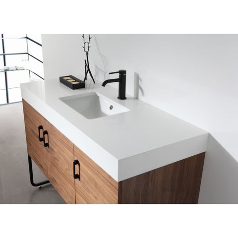"Image of Karton Republic Veemon 48"" Pine Mist Dual Mount Modern Bathroom Vanity w/Sink VAVEEPM48FD"