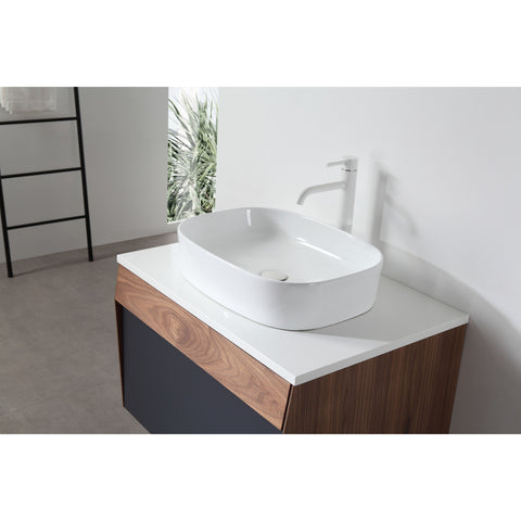 "Image of Karton Republic Ronda 30"" Dark Blue Wall Mount Modern Bathroom Vanity w/Sink VARONDB30WM"