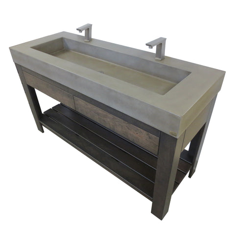 "Image of Trueform Concrete 60"" Lavare Vanity with Concrete Rectangle Sink & Drawer LAVARE-60N-D"