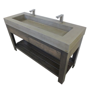 "Trueform Concrete 60"" Lavare Vanity with Concrete Rectangle Sink & Drawer LAVARE-60N-D"