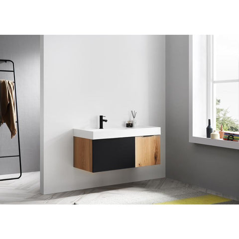 "Image of Karton Republic Lugano 42"" Matte Black Glass/Maple Wall Mount Modern Bathroom Vanity w/ Sink VALUGMB52WM"