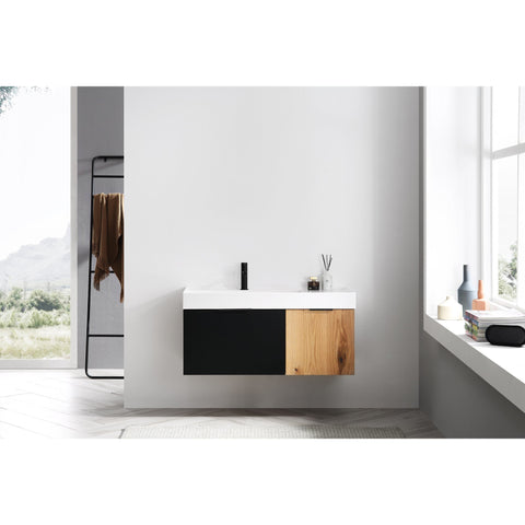 "Karton Republic Lugano 42"" Matte Black Glass/Maple Wall Mount Modern Bathroom Vanity w/ Sink VALUGMB52WM"