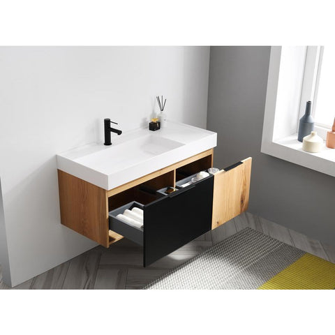 "Karton Republic Lugano 42"" Matte Black Glass/Maple Wall Mount Modern Bathroom Vanity VALUGMB52WM"