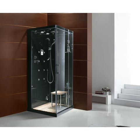 Image of Homeward Bath Jupiter Steam Shower Left Drain in Black 35 x 35 x 86 M6023LB