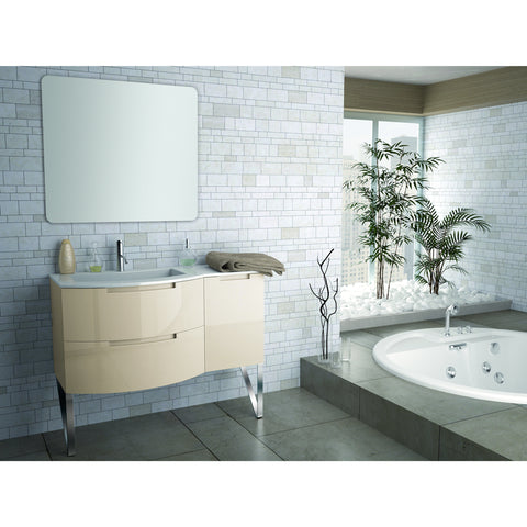 "Image of Latoscana Oasi 43"" Wall-Mounted Vanity With Right Side Cabinet in Glossy White OA43OPT2W"