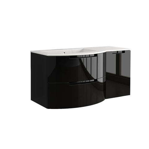 "Latoscana Oasi 53"" Wall-Mounted Vanity With Right Side Cabinet in Glossy White OA53OPT2W"