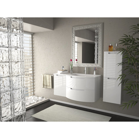 "Latoscana Oasi 53"" Wall-Mounted Vanity With Left Side Cabinet in Glossy White OA53OPT3W"