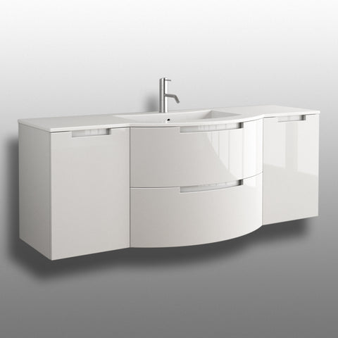 "Latoscana Oasi 57"" Wall-Mounted Vanity With Both Side Cabinet in Glossy White OA57OPT4W"