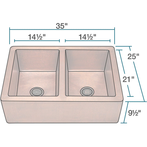 Polaris Equal Double Bowl Copper Apron Sink P219