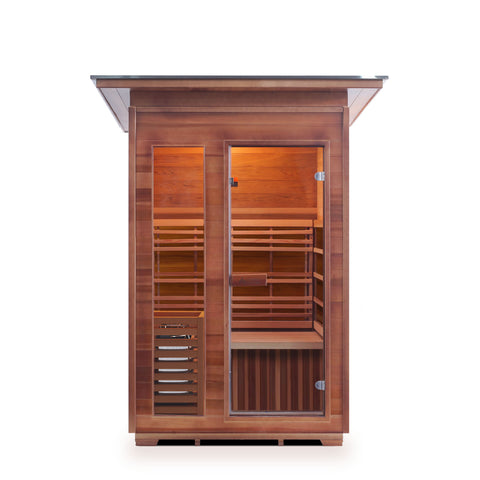 Image of Enlighten Sunrise 2 Peak Dry Traditional Outdoor/Indoor Sauna T-17376