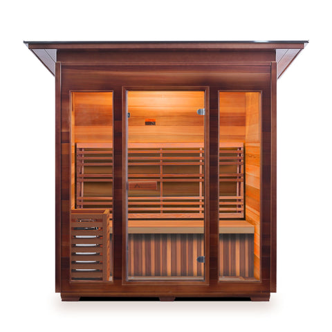 Enlighten Sunrise 4 Peak 4 Person Dry Traditional Outdoor/Indoor Sauna T-17378