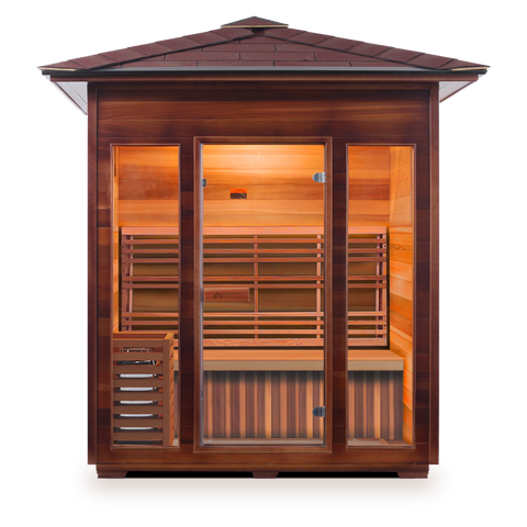 Image of Enlighten Sunrise 4 Peak 4 Person Dry Traditional Outdoor/Indoor Sauna T-17378