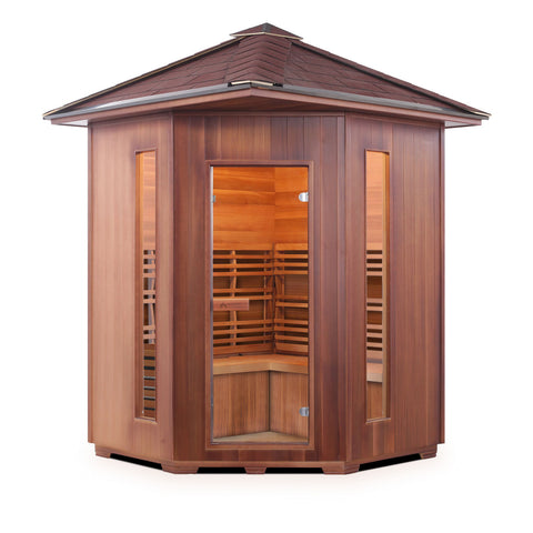 Enlighten Sunrise - 4 Peak Corner Unit 4 Person Dry Traditional Outdoor/Indoor Sauna T-17379