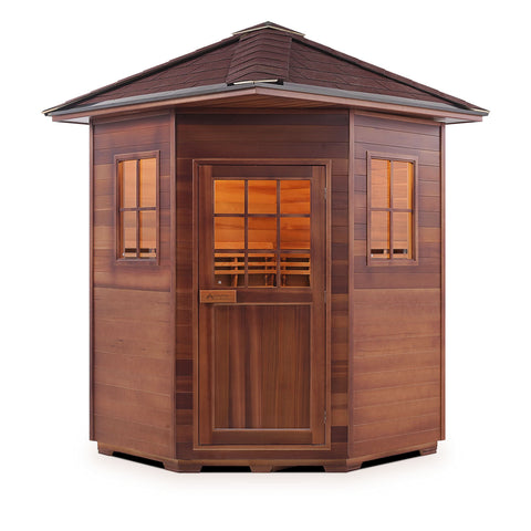 Image of Enlighten MoonLight - 4 Peak Corner Unit 4 Person Dry Traditional Outdoor/Indoor Sauna T-16379