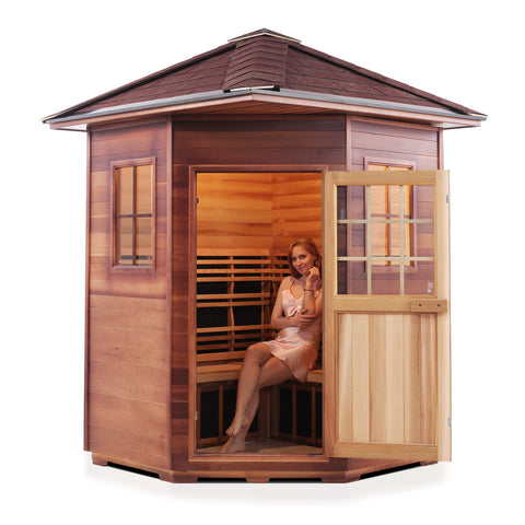 Enlighten Sierra - 4 Person Indoor/Outdoor Peak Corner Peak Infrared Sauna 16379