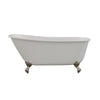 Cambridge Plumbing 58 Inch Cast Iron Swedish Slipper Clawfoot Tub No Holes –SWED58-NH-BN