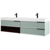 "Karton Republic Marfa 72"" Aloe Green/Walnut Wall Mount Modern Bathroom Vanity VAMARAG72WM"