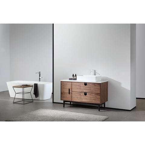 "Image of Karton Republic Portree 48"" Walnut Mid-Century Freestanding Bathroom Vanity w/ Sink VAPORWA48FD"