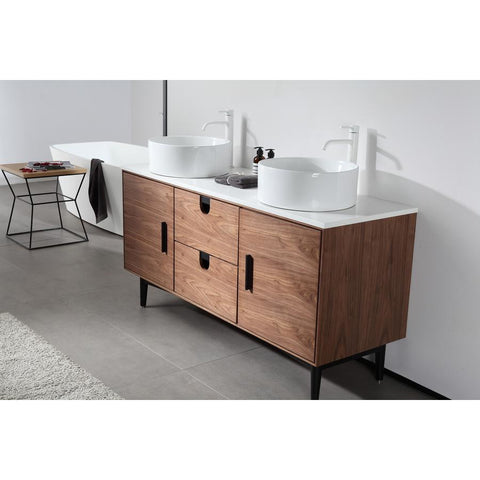 "Karton Republic Portree 60"" Walnut Mid-Century Freestanding Bathroom Vanity w/Sink VAPORWA60FD"
