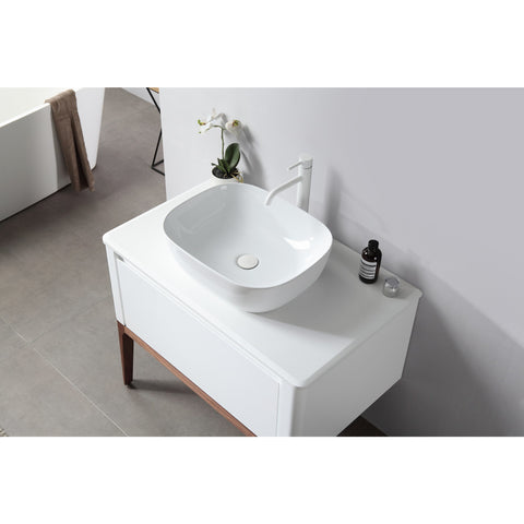 "Image of Karton Republic Sebastian 36"" Gloss White Dual Mount Modern Bathroom Vanity w/Sink VASEBGW36FD"