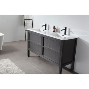 "Karton Republic Annecy 55"" Charcoal Oak Freestanding Modern Bathroom Vanity Sink VAANNCH55FD"