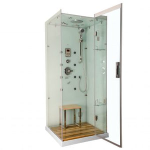 Homeward Bath Jupiter Steam Shower Left Drain in White 35 x 35 x 86 M6023LW