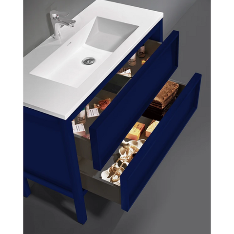 "Karton Republic Annecy 36"" Charcoal Oak Freestanding Modern Bathroom Vanity Sink VAANNCH36FD"
