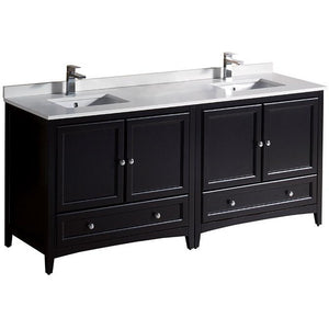 Fresca Oxford 72 Inch Espresso Traditional Double Sink Bathroom Cabinets with Top and Sinks FCB20-301230ES-CWH-U