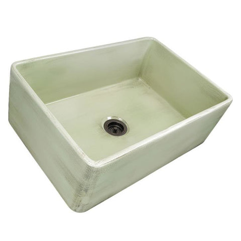 Image of Nantucket Sinks 30-Inch Farmhouse Fireclay Sink with Shabby Green Finish FCFS3020S-ShabbyGreen